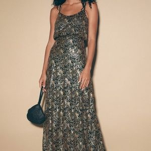 In Awe Black and Gold Sequin Maxi Dress (LULUS)
